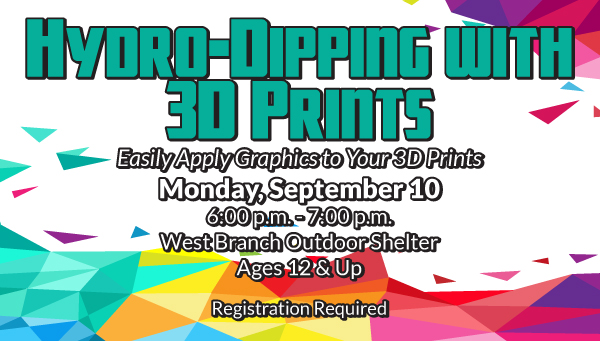 Rainbow-Colored Abstract Geometric Pattern with Hydro-Dipping with 3D Prints Information