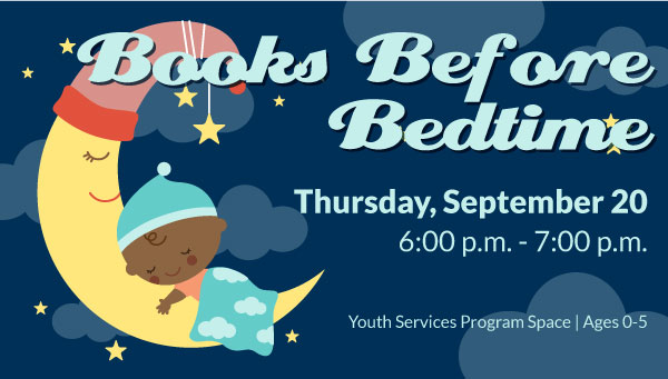 Illustration of Infant Sleeping on a Crescent Moon with Books Before Bedtime Information