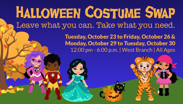 Children in Costumes with Halloween Costume Swap Information