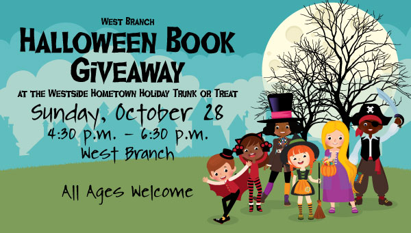 Children in Halloween Costumes with West Branch Halloween Book Giveaway Information