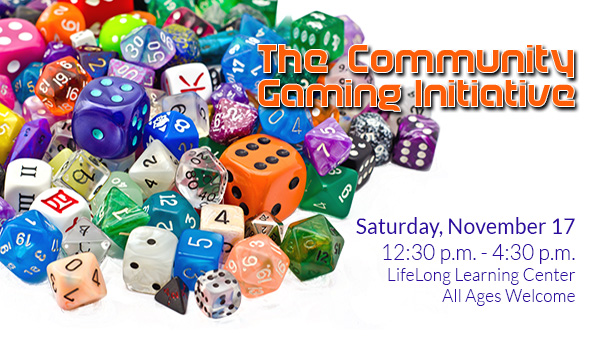 Colorful Gaming Dice with Community Gaming Initiative Information