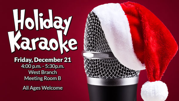 Microphone Wearing a Santa Hat with Holiday Karaoke Information