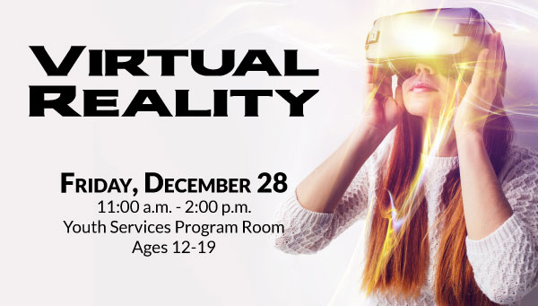 Girl Wearing VR Headset with Virtual Reality Information
