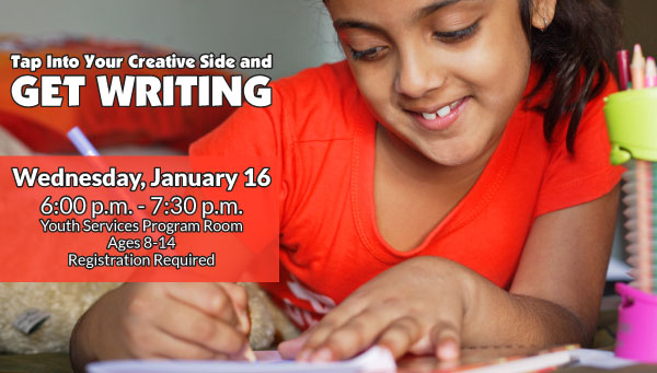 Young Girl Writing with Get Writing Information