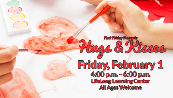 Child Painting Watercolor Heart with First Friday: Hugs & Kisses Information
