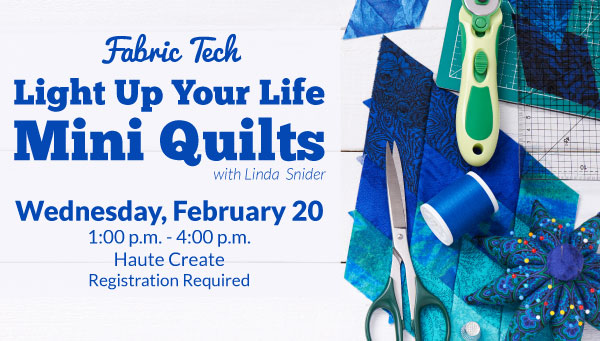 Quilted Fabric with Scissors, Rotary Cutter & Thread with Fabric Tech Information