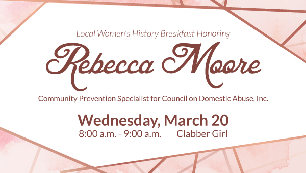 Pink Watercolor Background with Rose Gold Lines and Local Women's History Breakfast Information