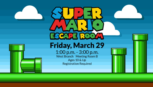 Green Pipes on Grass with Super Mario Escape Room Information
