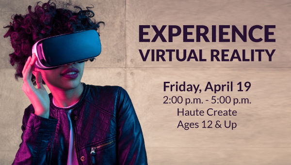 Woman Wearing VR Headset with Experience Virtual Reality Information