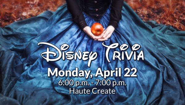 Woman in Blue Dress with Red Apple with Disney Trivia Information