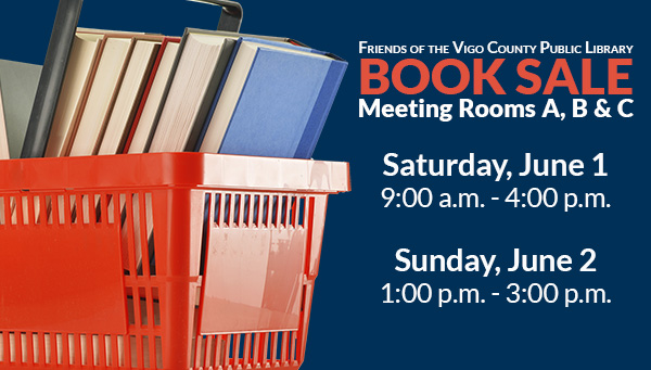 Books in Red Basket with Friends of the Library Book Sale Information