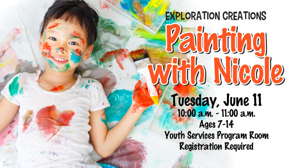 Girl Covered in Paint with Paint Brush with Painting With Nicole Information