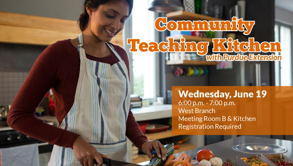 Woman Cutting Up Vegetables with Community Teaching Kitchen Information