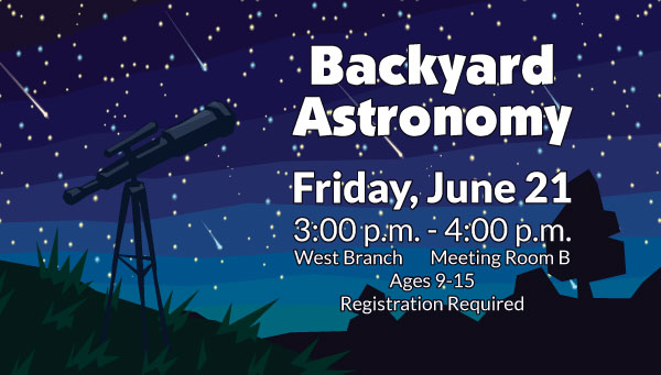 Telescope Against Night Sky with Backyard Astronomy Information