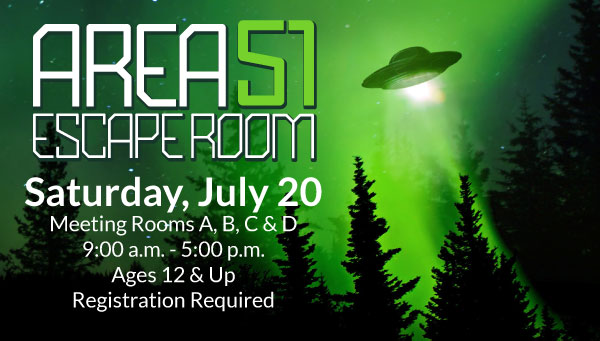 UFO Against Green Sky with Area 51 Escape Room Information