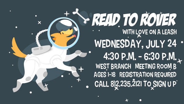 Dog in Space Suit Chasing Bone in Space with Read to Rover Information
