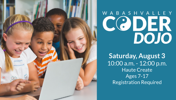Children Gathered Around a Laptop with Wabash Valley Coder Dojo Information