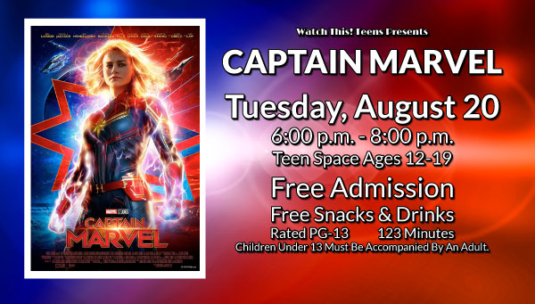 Poster: Captain Marvel with Watch This! Teens Information