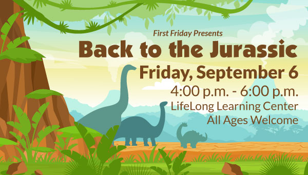 Dinosaur Silhouettes Against Mountains with First Friday: Back to the Jurassic Information