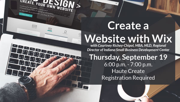 User Hand on Laptop Keyboard with Create a Website with Wix Information