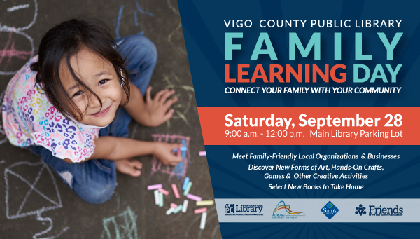 Little Girl Drawing on Sidewalk with Chalk with Family Learning Day Information