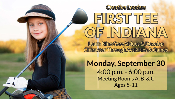 Young Girl with Golf Club with First Tee of Indiana Information