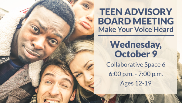 Teenagers Taking a Group Selfie with Teen Advisory Board Information