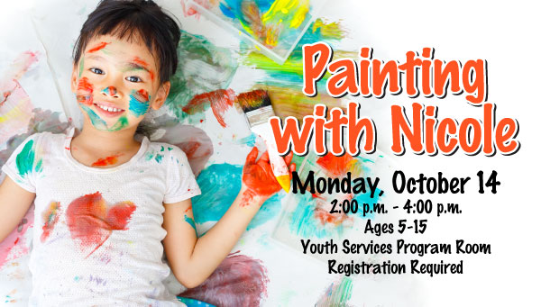 Girl with Paint on Her Face, Clothes and Hand with Painting with Nicole Information