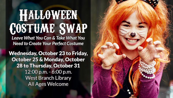 Girl Dressed Up as Cat with Halloween Costume Swap Information