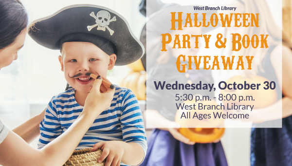 Little Boy Being Dressed Up as a Pirate with Halloween Party & Book Giveaway Information