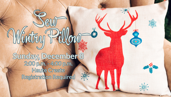 Reindeer Pillow on Chair with Sew Wintry Pillow Information