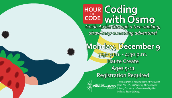 Illustration of Awbie with a Strawberry with Hour of Code: Coding with Osmo Information