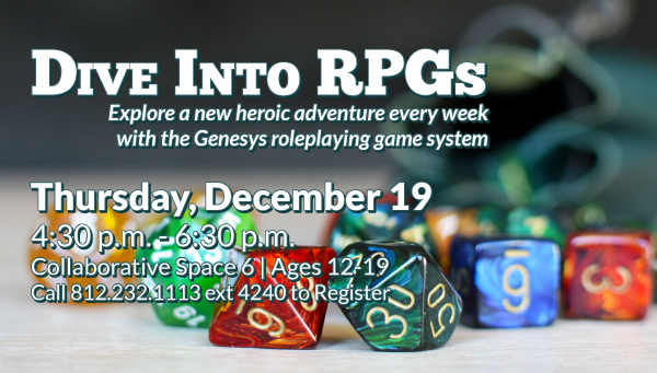 Roleplaying Dice Set with Green Bag with Dive Into RPGs Information