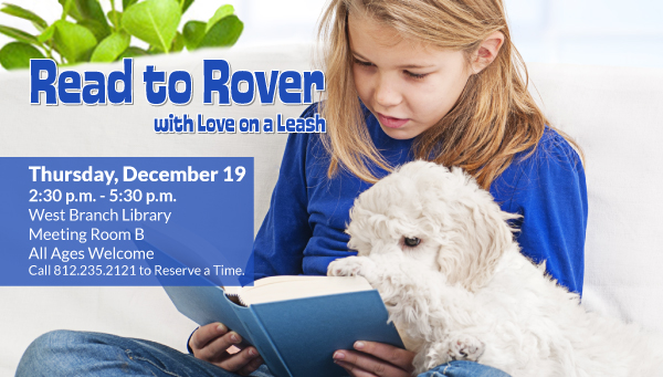 Girl Reading to Small Dog with Read to Rover Information