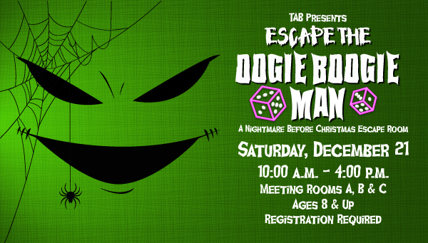Green Boogie Man Face with Spider Web and Spider with Escape the Oogie Boogie Man Information