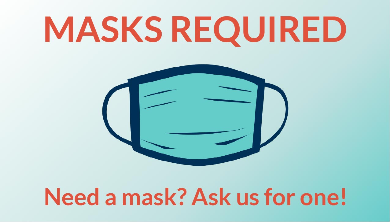Illustration of a Face Mask with Masks Required Information