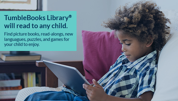 Young Boy on Tablet with TumbleBooks Library Information