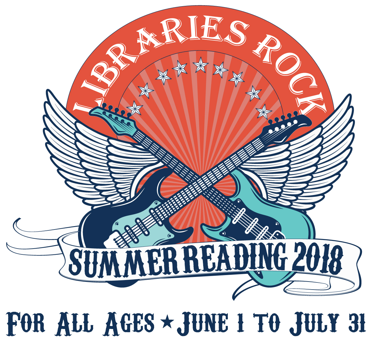 Libraries Rock Logo; For All Ages; June 1 - July 31