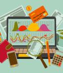 Illustration of Laptop with Financial Information