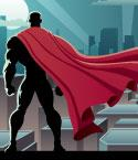Silhouette of Super Hero with Red Cape Looking Over City