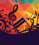 Music Notes and Symbols Over Colorful Background