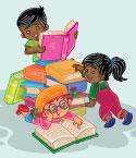 Illustration of Three Children with Stack of Books