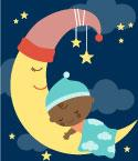 Illustration of Infant Sleeping on a Crescent Moon