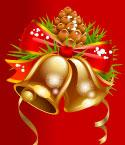Gold Holiday Bells on Red Background