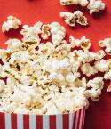 Popcorn on Red Background