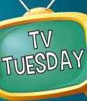 Yellow TV with TV Tuesday on the Screen