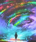 Girl Looking Up a Night Sky Swirling with Colors