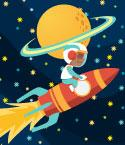 Boy Riding Rocket Past Saturn