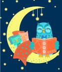 Owl in Crescent Moon Reading to Two Owlets