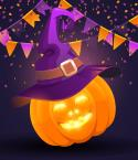 Jack O Lantern with Witch's Hat and Purple and Orange Banners